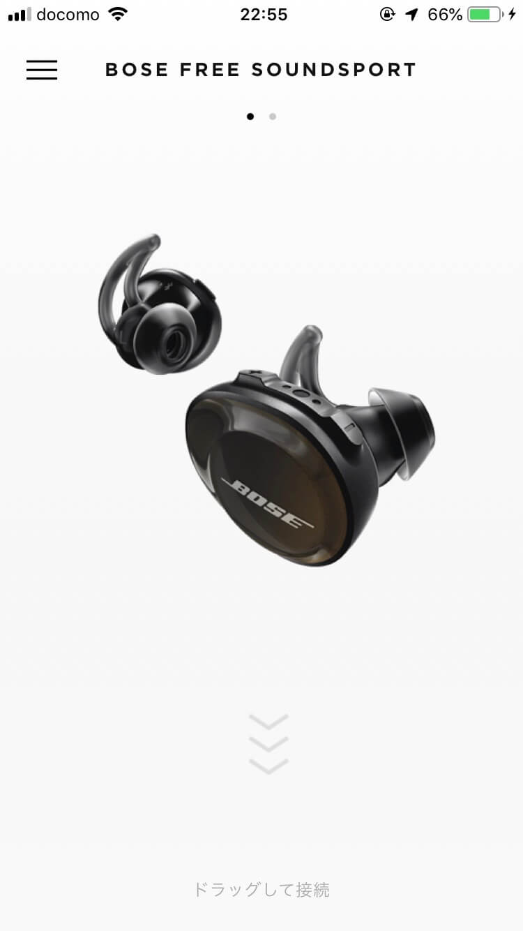 Bose SoundSport Free wireless headphones接続画面
