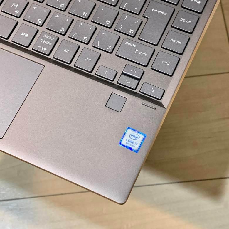 HP Spectre x360 13のパームレストに指紋認証リーダー搭載