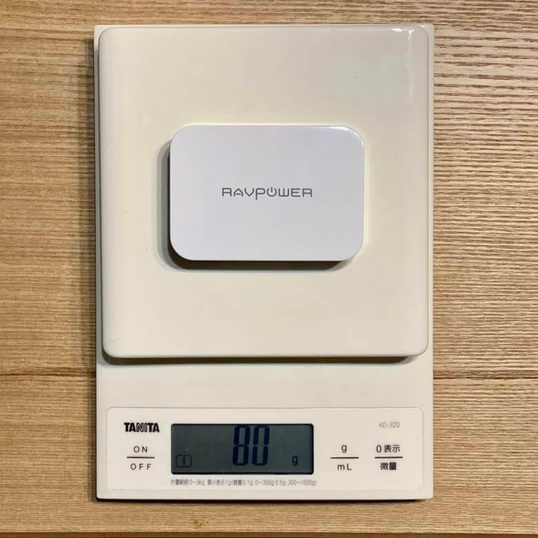 RAVPower RP-PC104の重さは80g