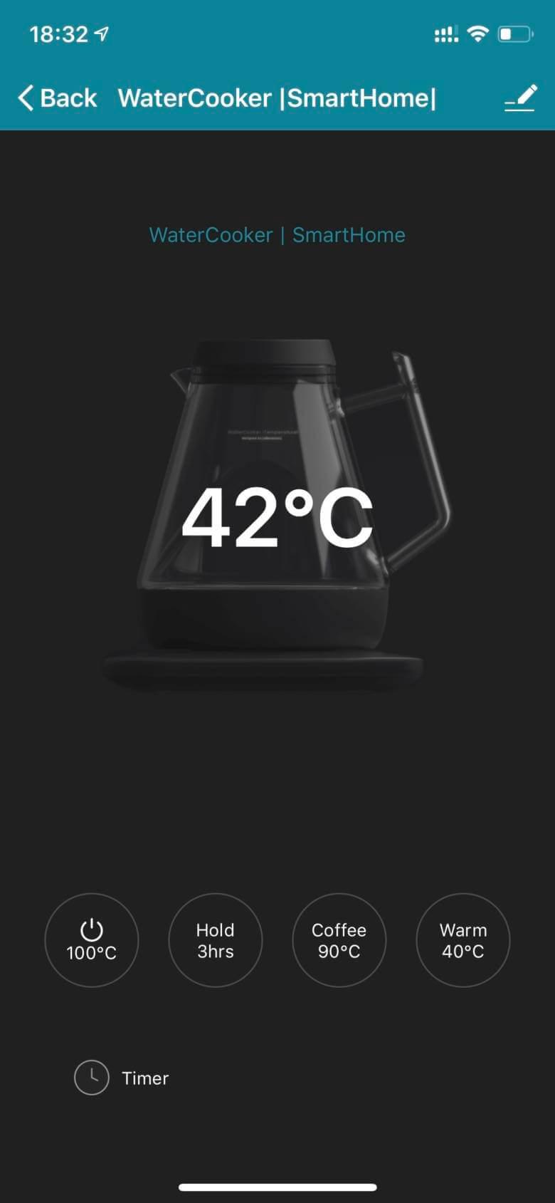 WaterCooker |SmartHome|アプリのインターフェース