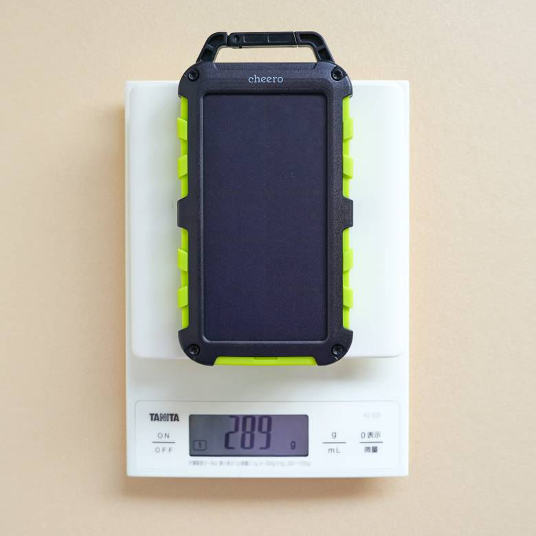 cheero Solar Power Bank 10000mAhの重量は約289g